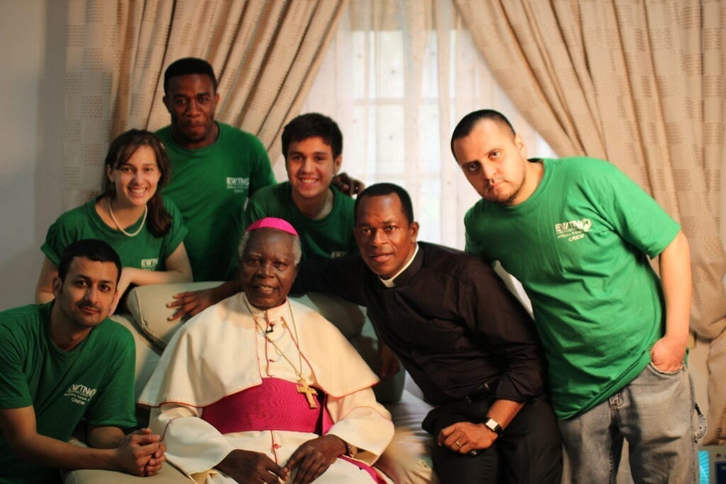 Bishop Ochiagha with Fr. Maurice Emelu and his Crew for the EWTN African Productions