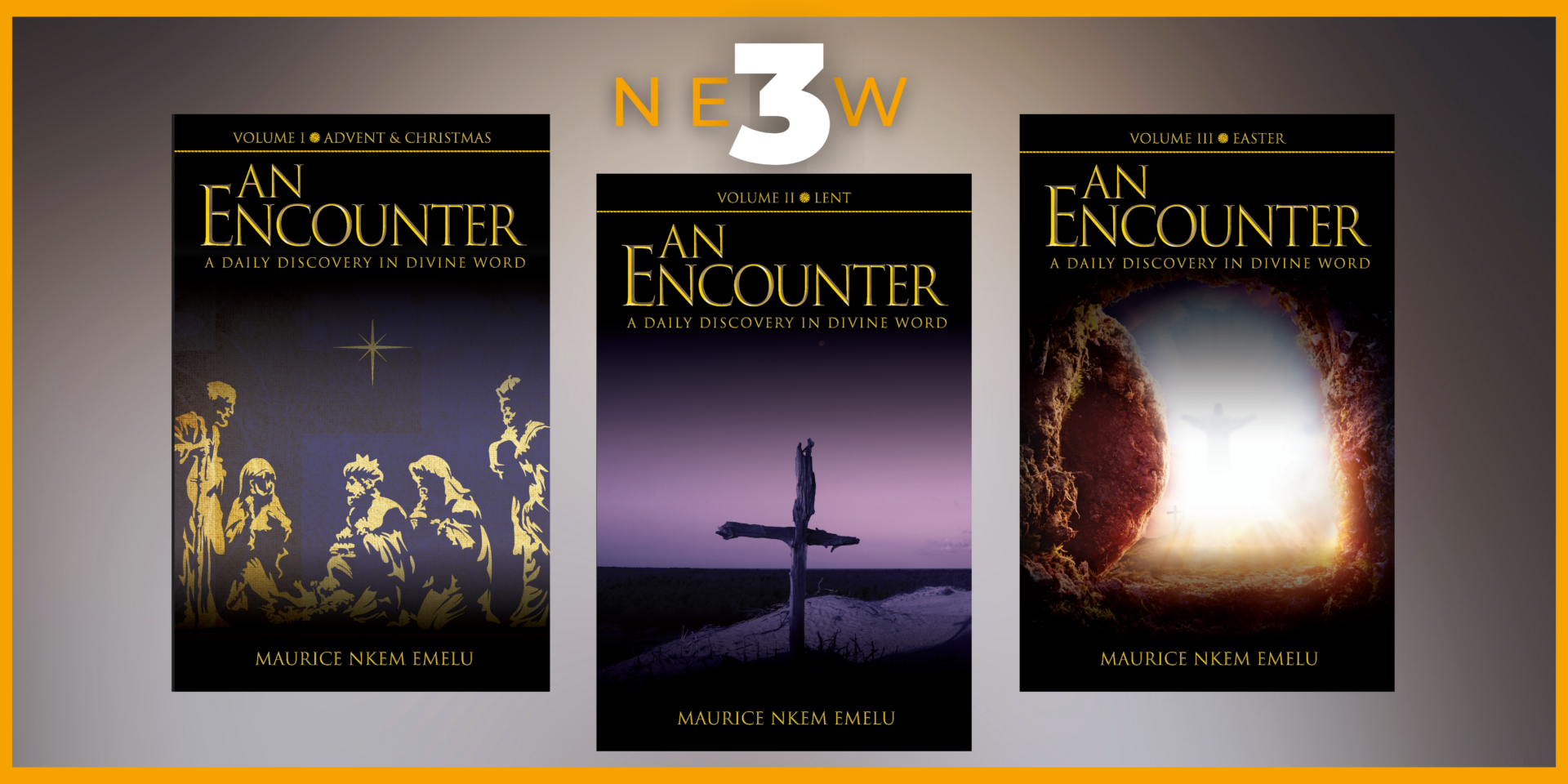 Banner for 3 Volumes of Maurice Emelu's An Encounter